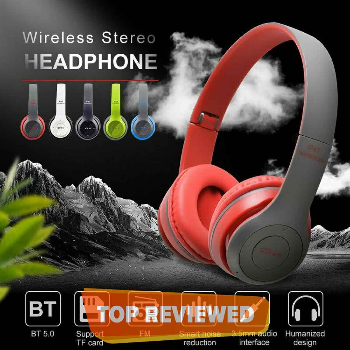 P47 Wireless Bluetooth Headphones Latest 5.0+EDR with Mic Stereo Headset Supports FM Radio / TF Card / AUX Cable
