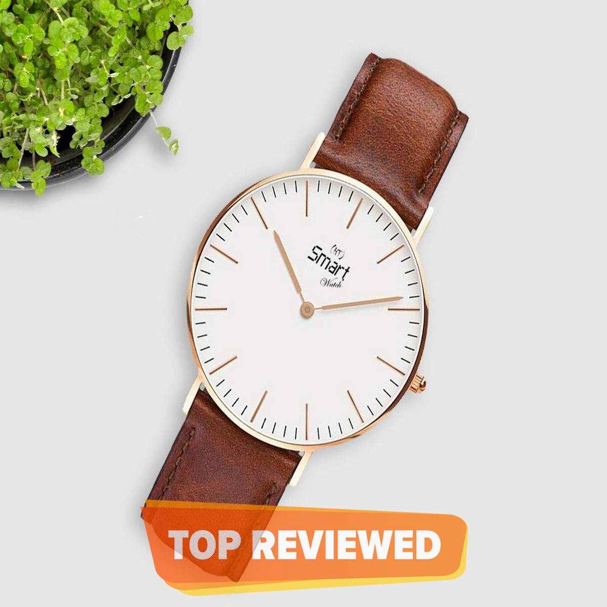 Men Watches Stainless Steel Case Leather Strap Watch