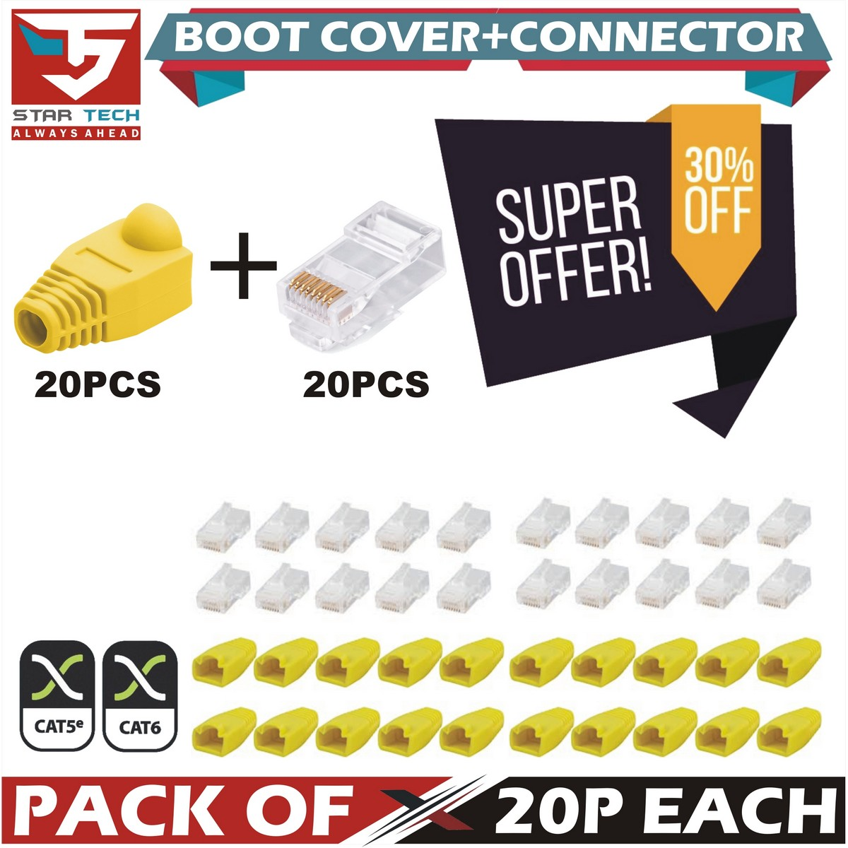 20X RJ45 Connector + Strain Relief Rubber Boots Cover Network LAN Ethernet Patch Cable Plug Caps
