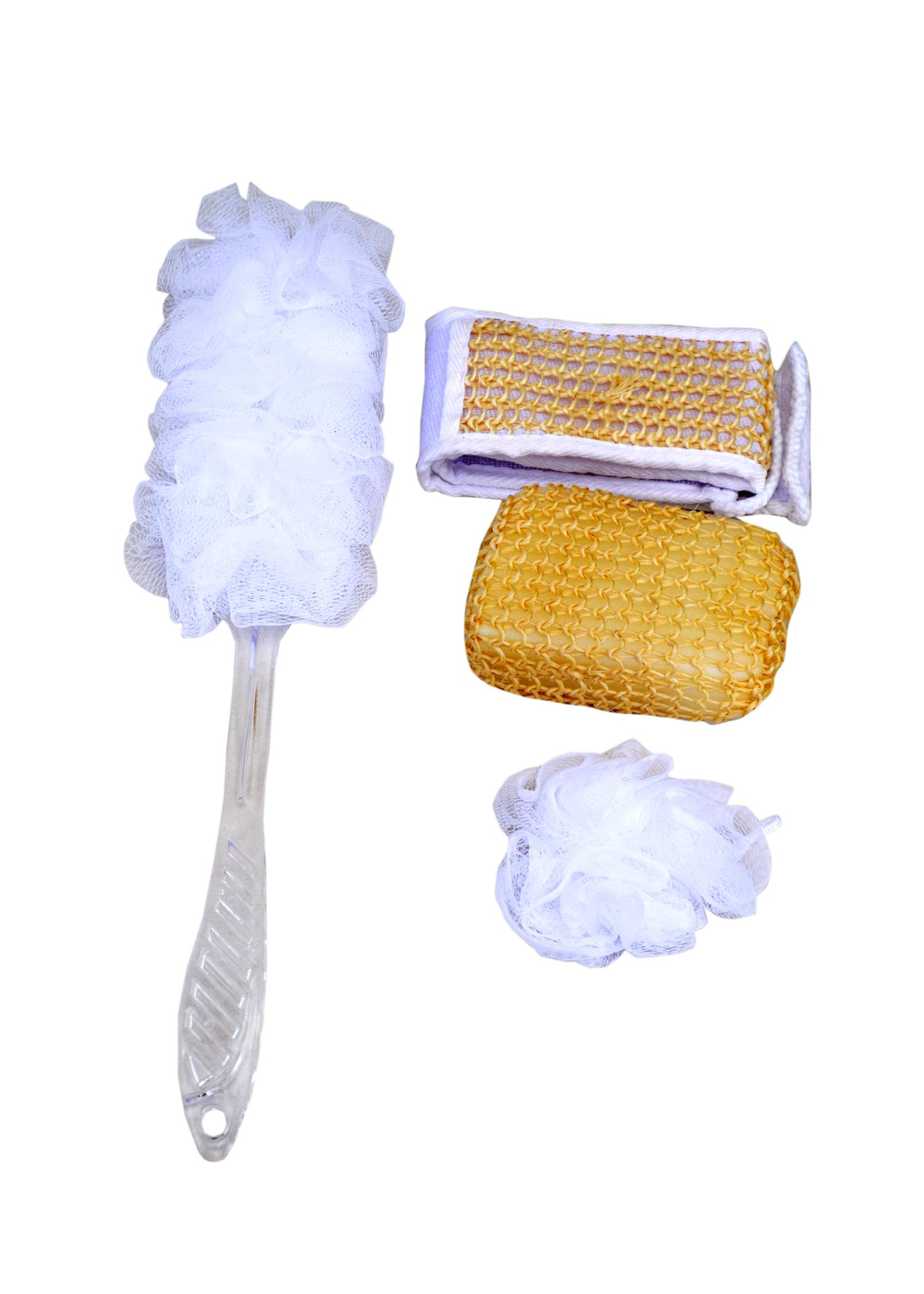 Bath & Shower Sponge with stick (Natural Bathing Suit) - 4pcs