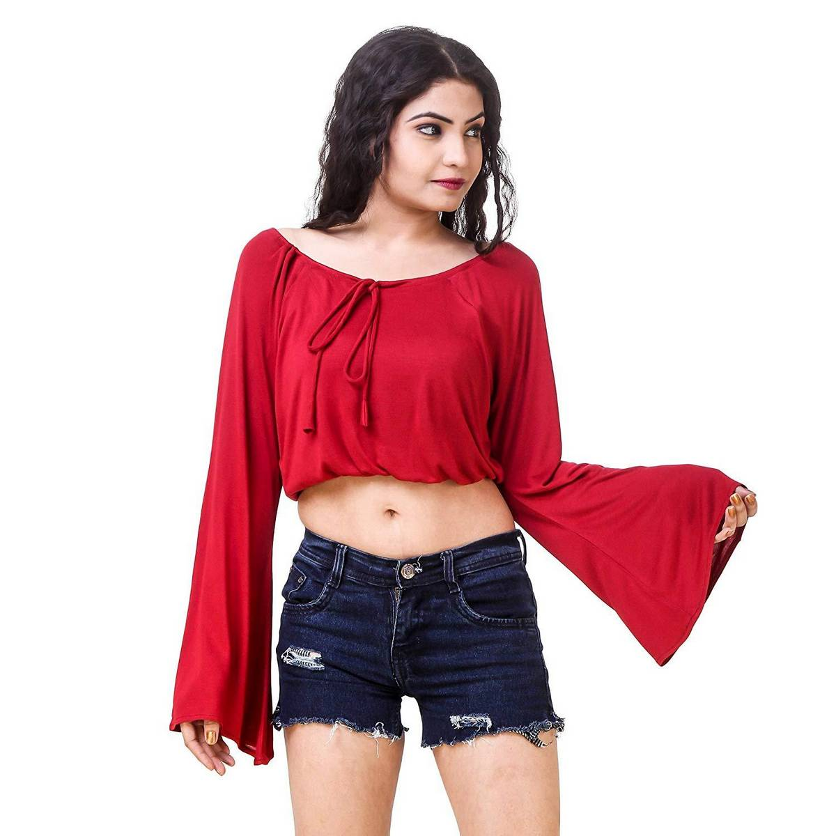 Designer Red Cotton Crop Party Wear Western Wear Stylish Top Shirt Blouse Tunic For Women