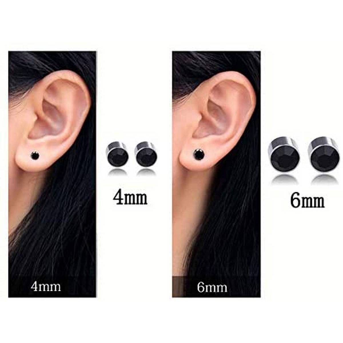 Magnet Tops For Boys & Girls Black Men's Earrings Round Jewelry (Pair of 2 Pieces) | Black Alloy Magnet Tops for Girls & Boys, Magnetic Round Earrings for Men | WHOLE SALE PRICE Magnetic Studs, Buttons Earring Holders and Fashion Tops for Men and Women