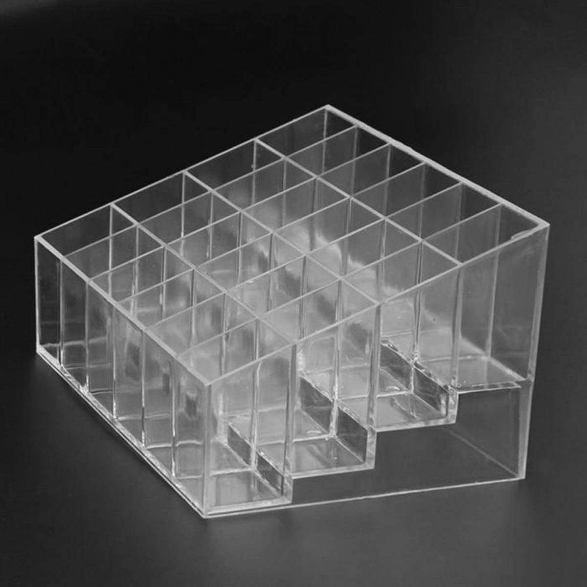 24 Grid Stand Solid Lip Stick Cosmetic Storage Box Organizer Case Makeup Display Holder Transparent Trapezoid Cosmetic Case New 24 Grid Acrylic Makeup Organizer Storage Box Cosmetic Box Lipstick Jewelry Box Case Holder Display