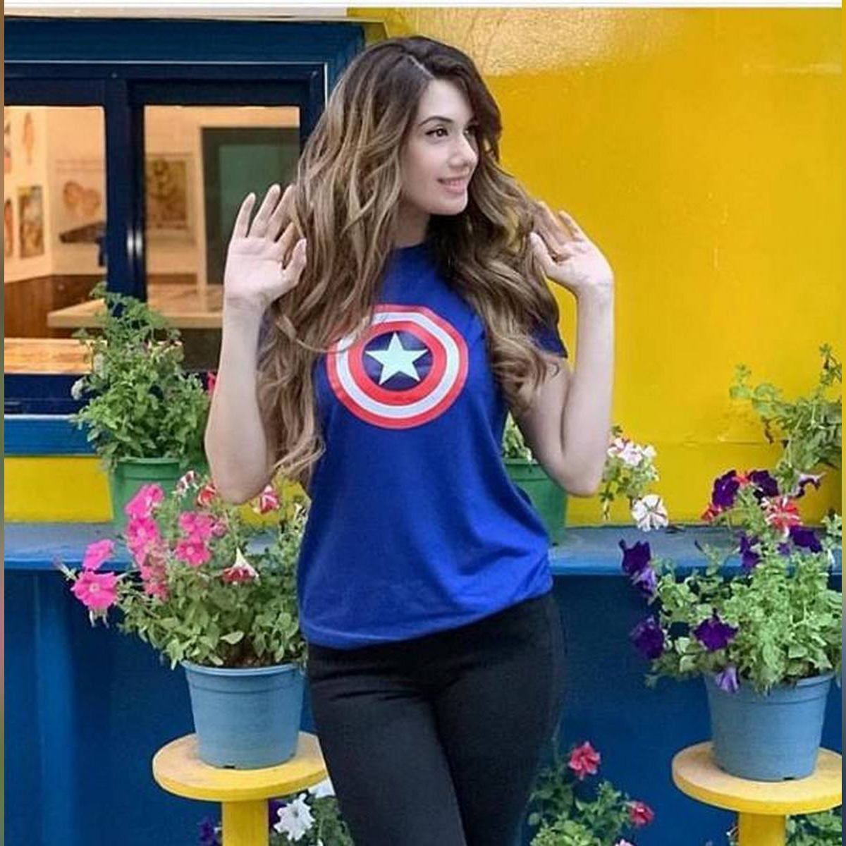Captain America Royal Blue Half Sleeve Printed T-shirt For Women Casual Cotton tshirts For Lady Top Tee - 11192019
