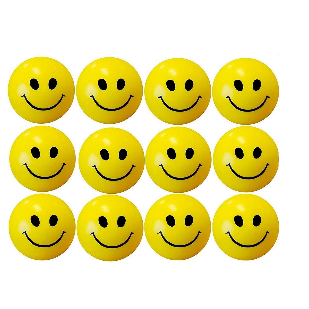 Stress Releaser Smiley Ball (Pack of 12) Happy Smiley Face Squishies Toys Stress Balls