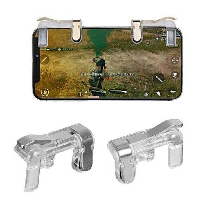 2Pcs Mobile Phone Gaming Pubg Fire Button Trigger L1R1 Shooting Controller - Black