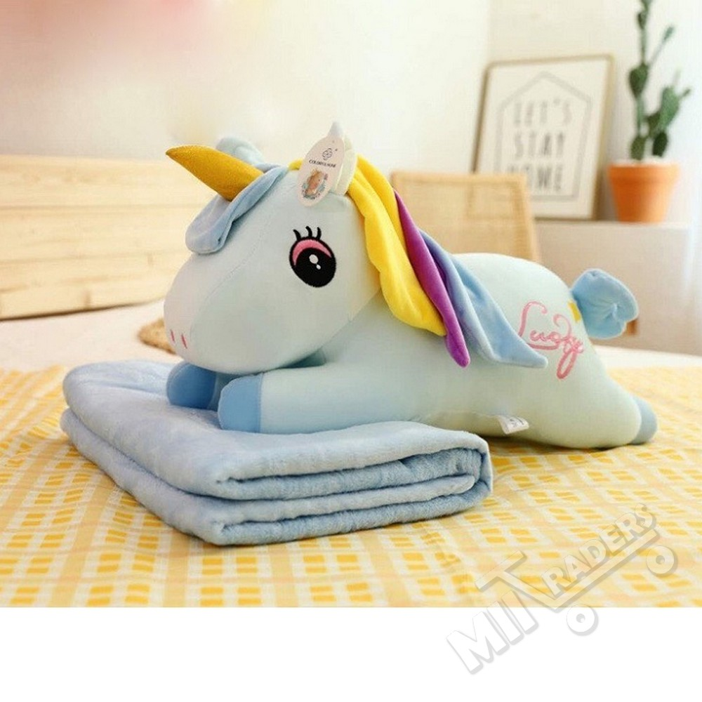 Baby Cute N Lovely Stuffed Animal Pillow Plush Toy Set With Blanket Soft Warm Folding Blanket - Infant Toddler Kids Blanket with Character Head Or Back Support Pillow 2 in 1 Baby Sleeping Portable Gift Set Foldable Bed Nest Puff Easy Carry Present