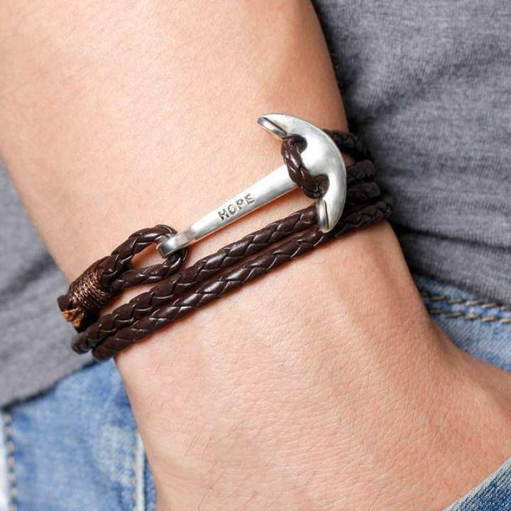 Leather Men Bracelet Jewelry Man Anchor Bracelet Wristband Charm Braclet For Male Accessories 40cm