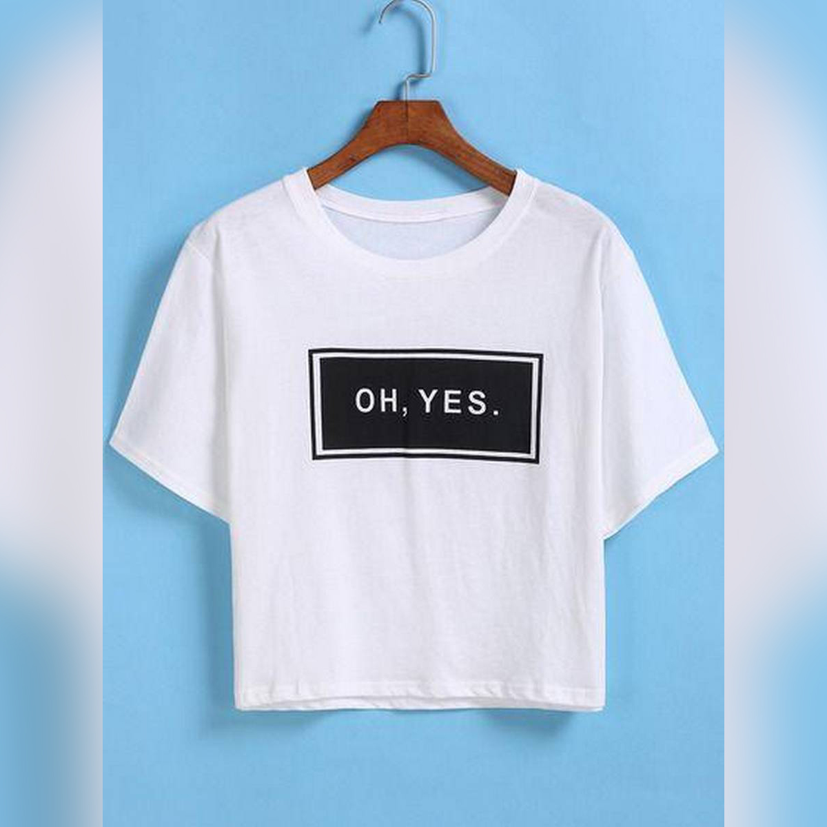 OH,YES white crop tshirt for women's