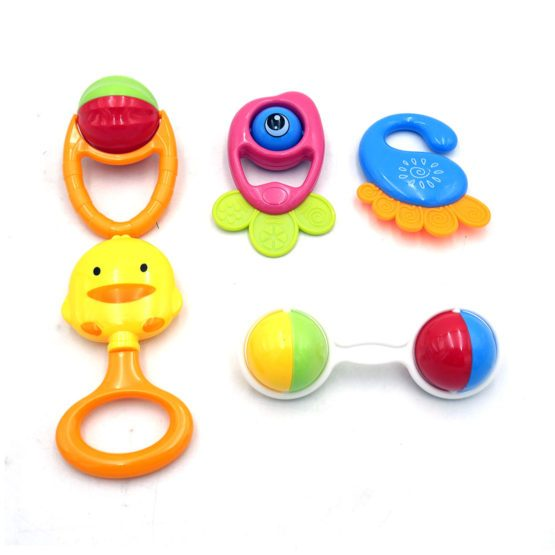 Beautiful 5 Pcs Rattle Set for Kids In Multi Colors