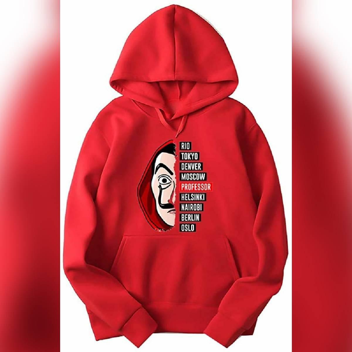 Red Money Heist Fleece Full Sleeves Pull Over Hoodie