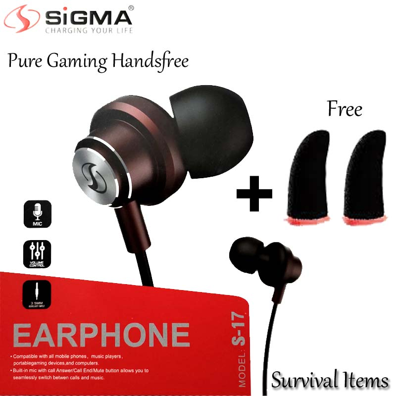 Sigma S-17 Best Universal Original Handsfree - Quality Stereo Bass Music Sound for PUBG Gamming Watching Movies - Wired with Mic Super comfortable handfree for girls men - 3.5mm jack Earphones Ear Buds , Head phones for Android Mobile Phones Tab