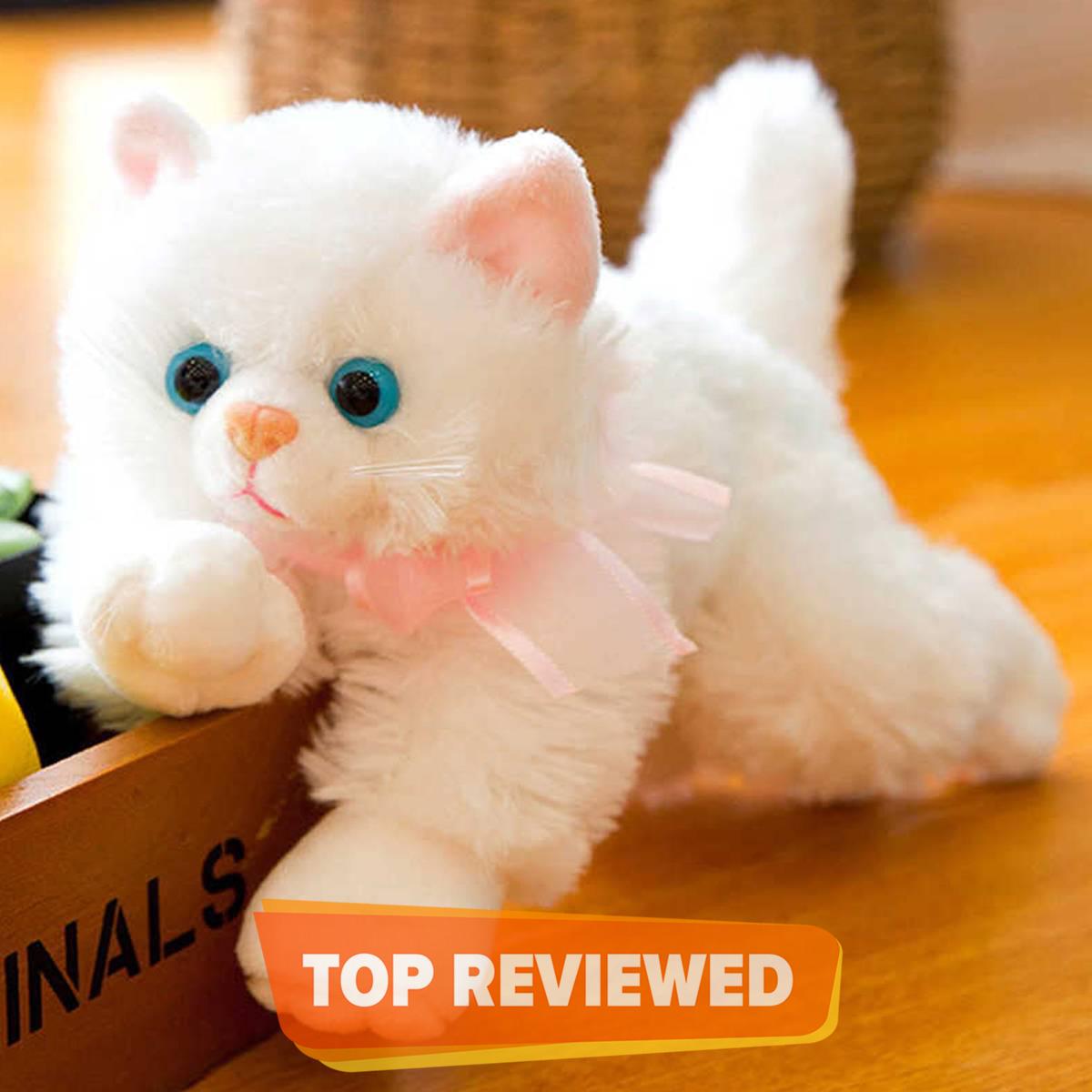Cat Stuffed Animal Soft Cat Plush Toy Persian Cat Stuff Toy White Color 25 cm
