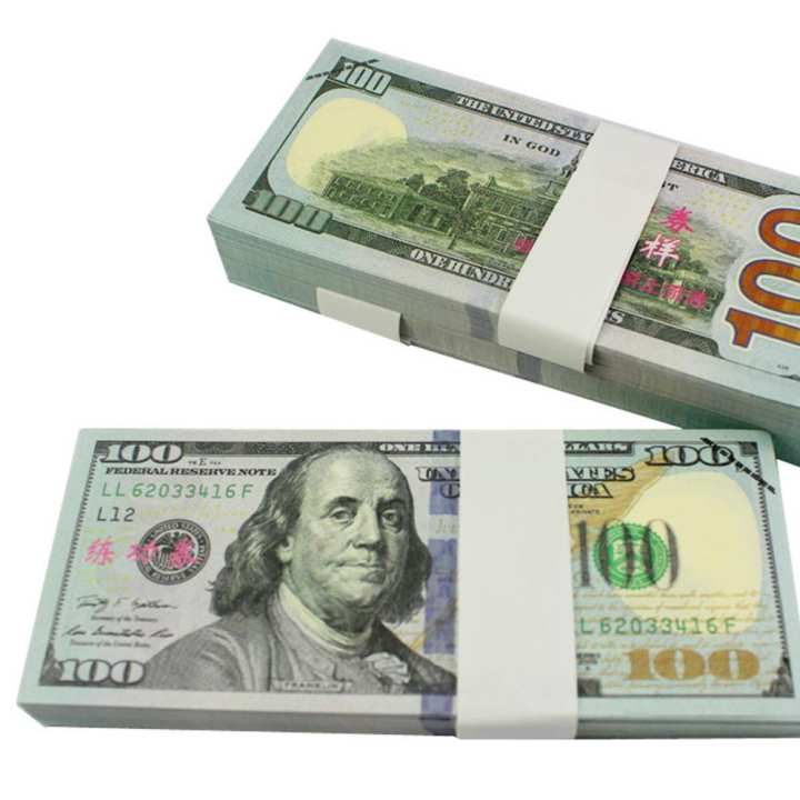 50Pcs $100 Type 2 USD Paper Bar Atmosphere Props Money for Movie TV Video Novelty Photography Tools