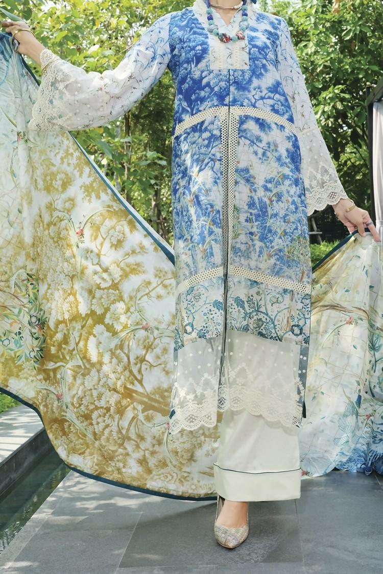 c0df8fa278 Almirah Summer Spring Collection Vol.01 2019 Blue Unstitched - 2Pcs Suit  for Women
