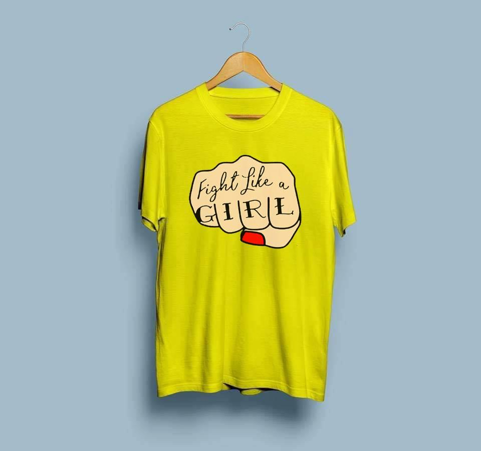 fight like a girl Letters Print Cotton Tshirt For Women Casual Cotton Hipster tshirts For Lady Funny Top Tee - 11192019