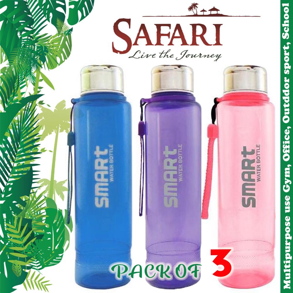 (Pack of 3) Safari Smart Water Bottles With Stainless Steel Cap BPA Free Food Grade