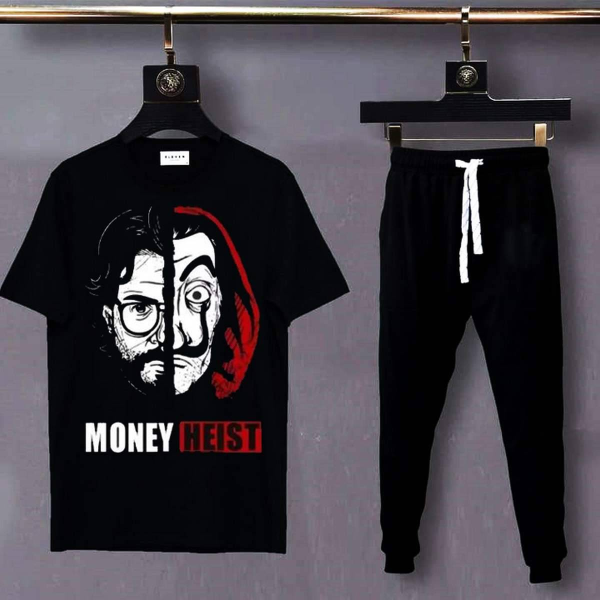 Money Heist Printed T Shirt And Trouser Cotton Half Sleeves Round Neck Tees Summer Collection Top Quality For Men - IJ Traders
