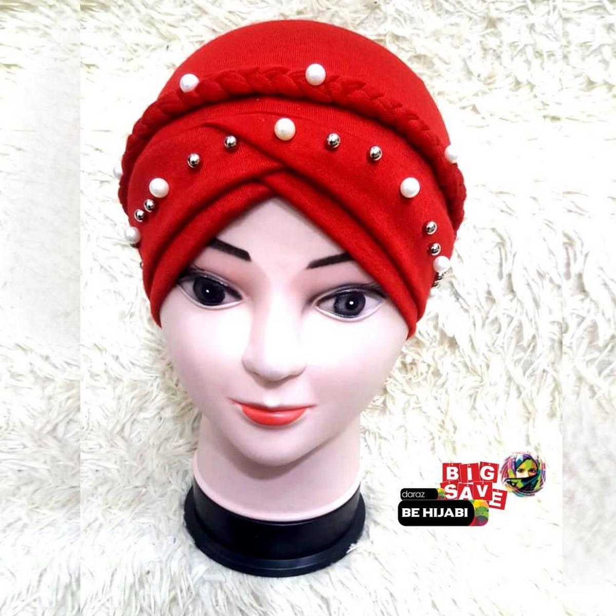 Red European Monochrome Single Nail Silver Pearl Whip Muslim jersey hijab caps Scarf Hat headscarf Be Hijabi