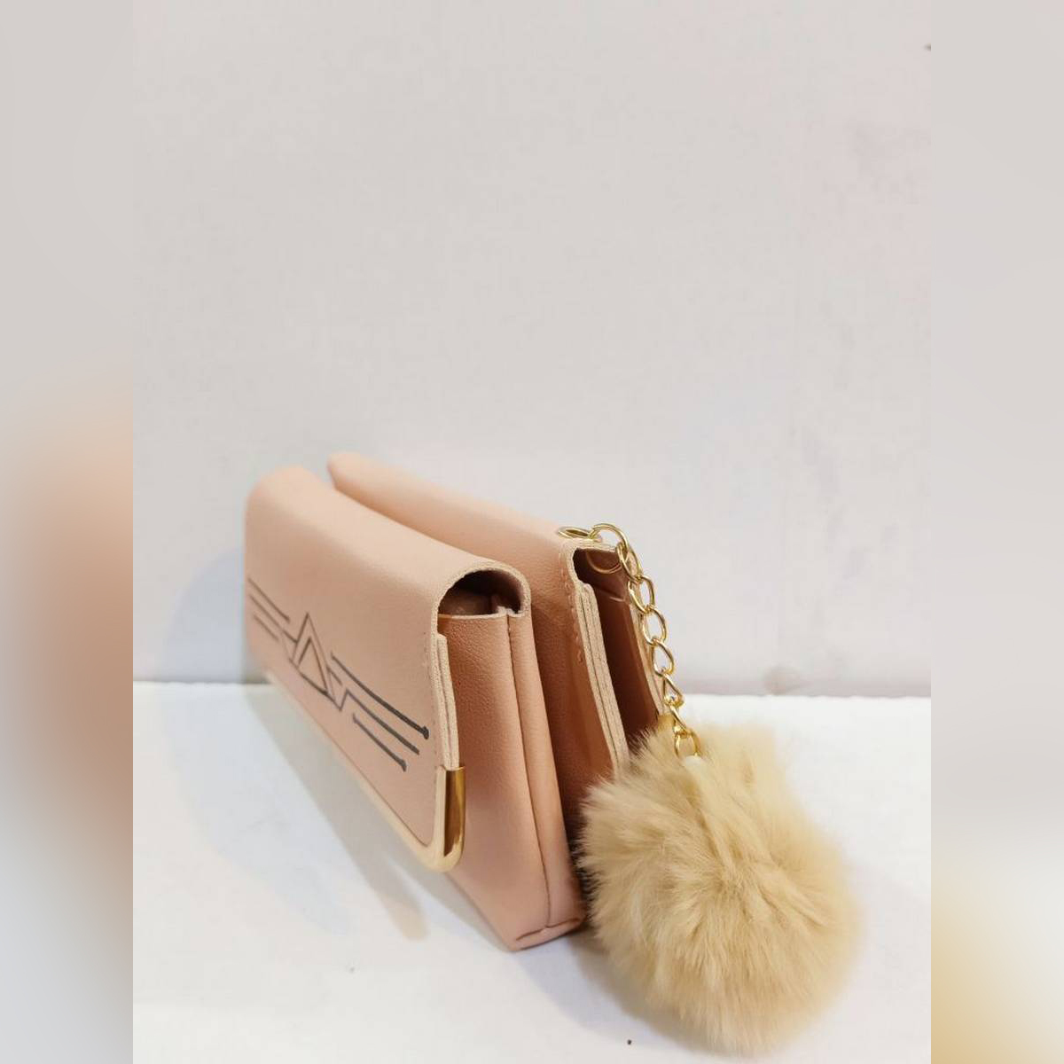 Double side Pu Leather Material Hand Clutch.inside Full size Mobile pocket