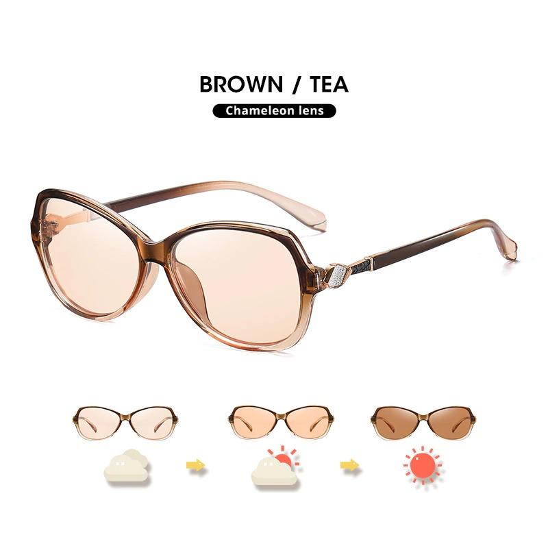 Photochromic Sunglasses Women Polarized Travel Sun Glasses Oval Eyewear Oversized Mirrored Cat Eyes Large Eye Wear for Girls and Female