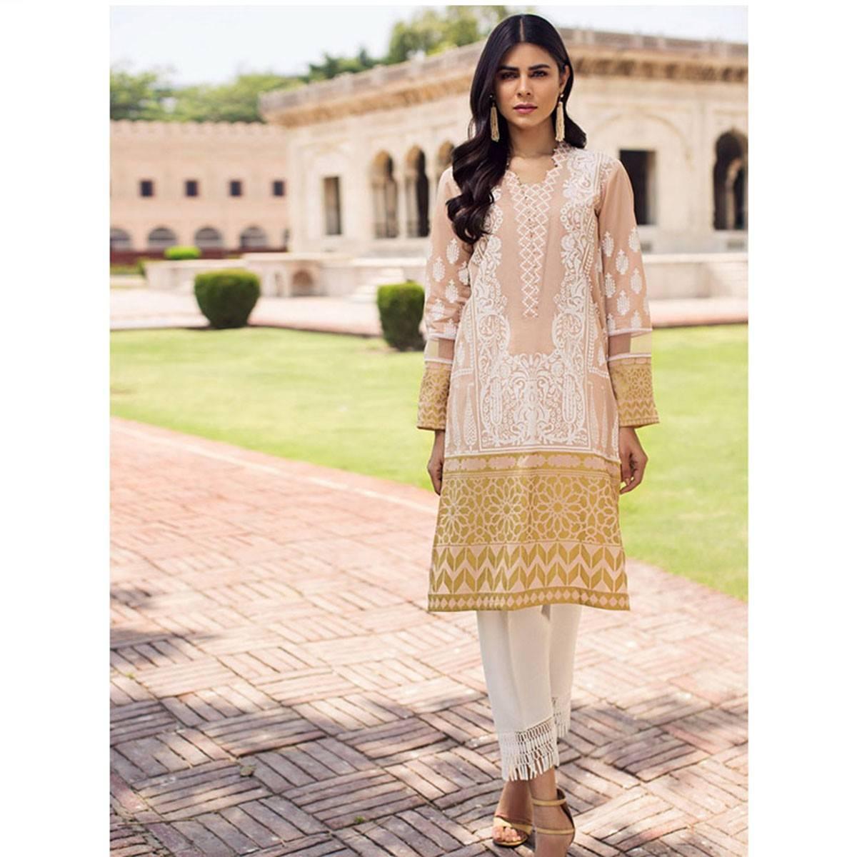LimeLight Peach Unstitched Lawn Shirt   For Women U0825-SSH-PCH