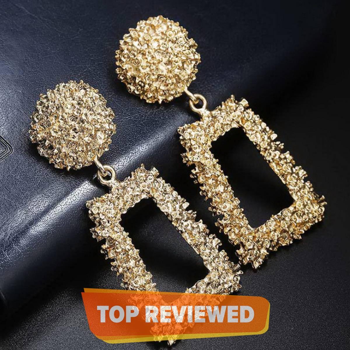 Vintage Metal Geometric Statement Earrings Set for Women - Female Fashion Jewelry
