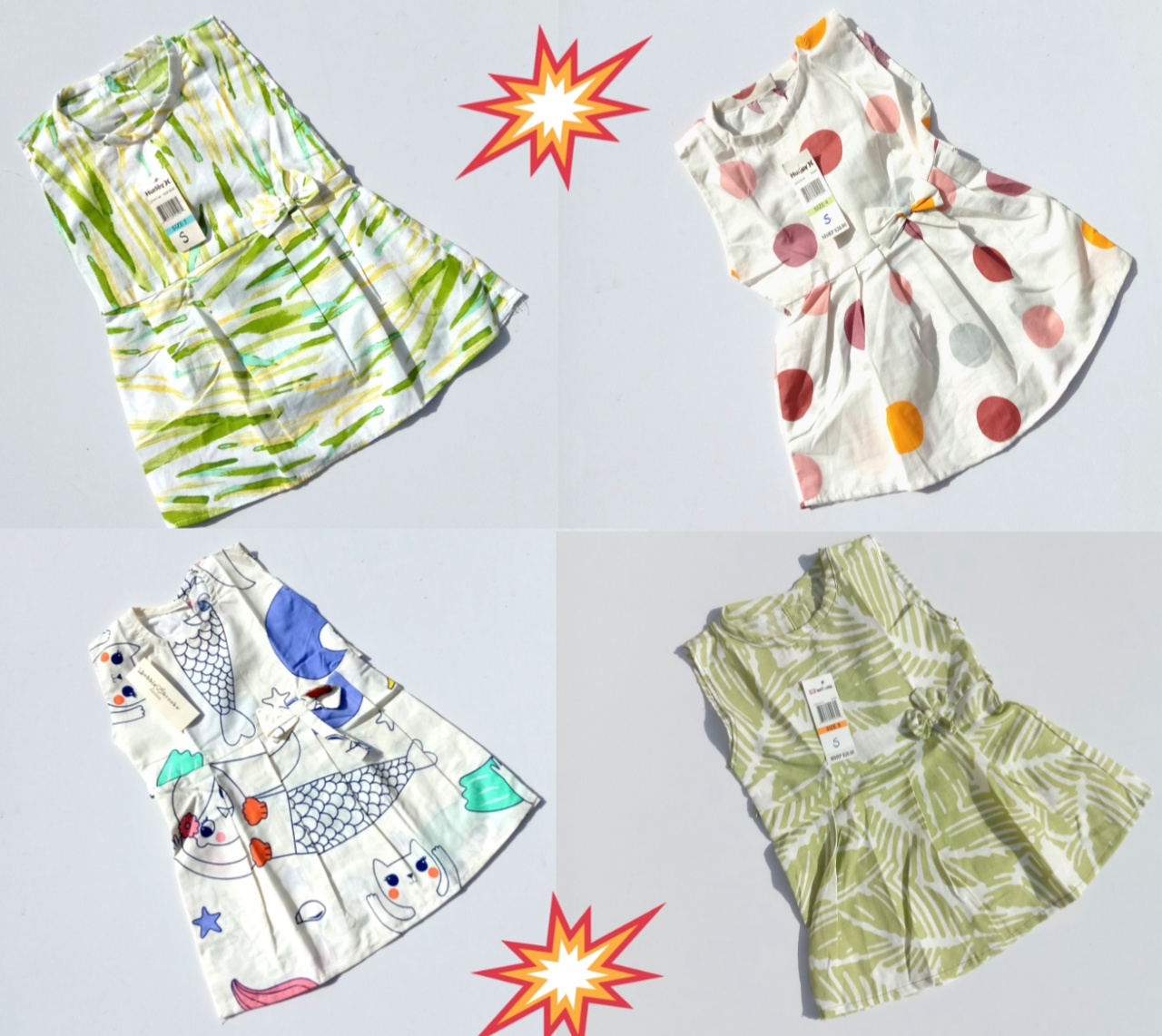 Pack Of 4 Multi-Color Printed Cotton Frock For Girls (Random Design)