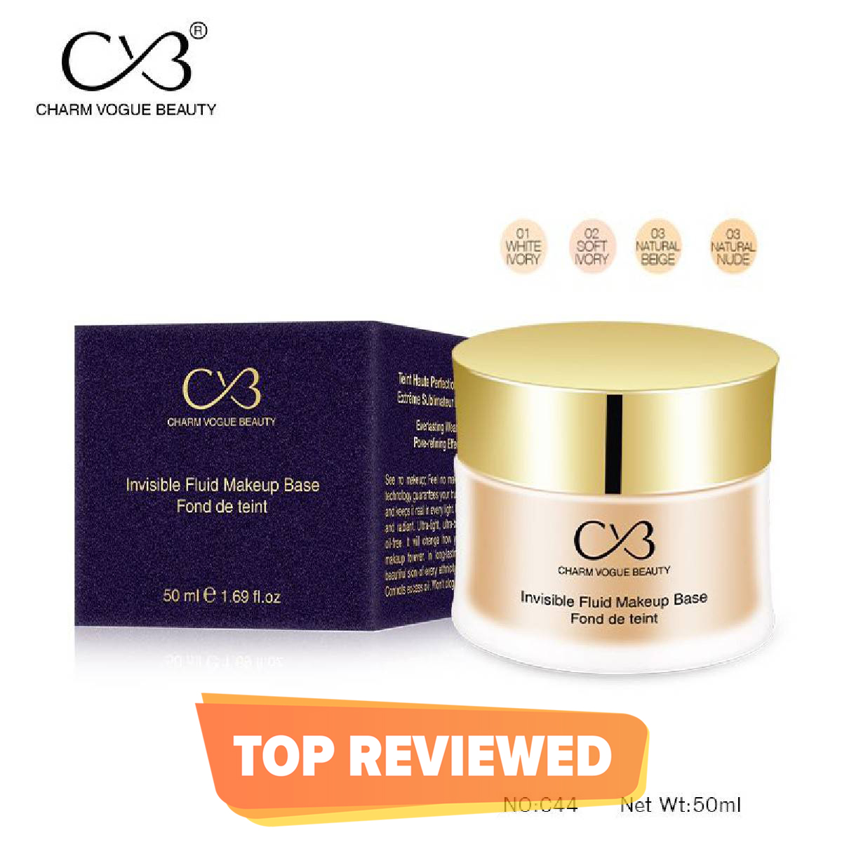 CVB Invisible Fluid Makeup Foundation 50ml - C44
