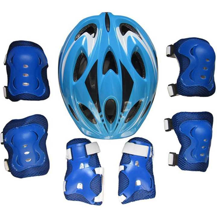 Kids Adjustable Bike Helmet Protect Set with Knee Elbow Wrist Guard for Cycling Biking Skateboard