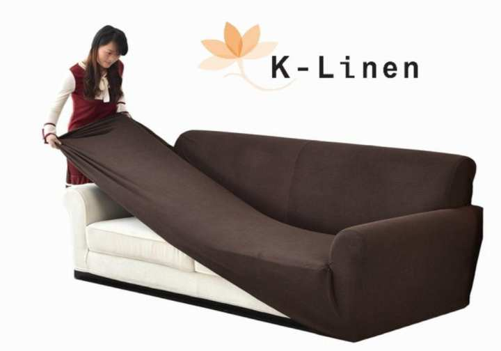 K-Linen Jersey Sofa Cover - Brown 6 Seater