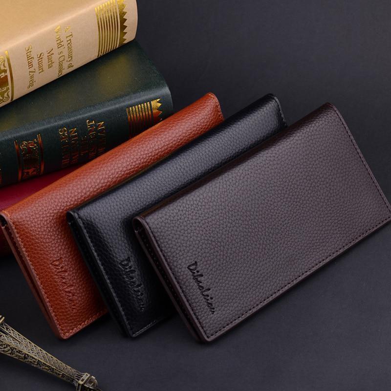 Leather Long Wallet For Men Slim Money Mobile Wallet Card Holder ( 3 designs )