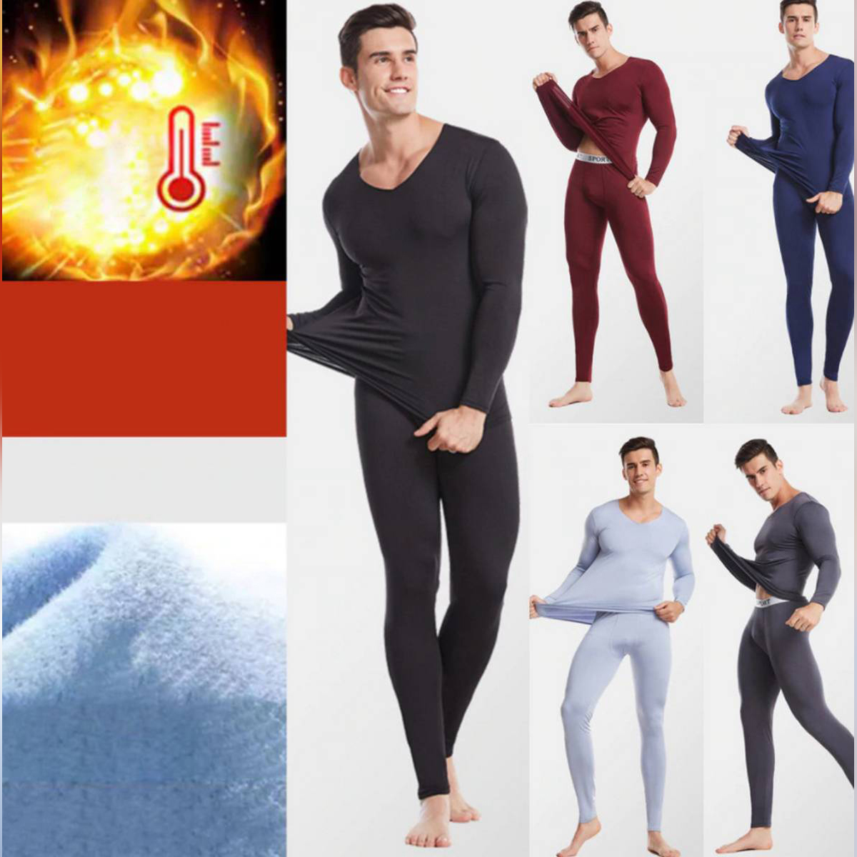 New Thermal Underwear Set Men Winter Long Johns Keep Warm Suit Two Pieces Inner Wear
