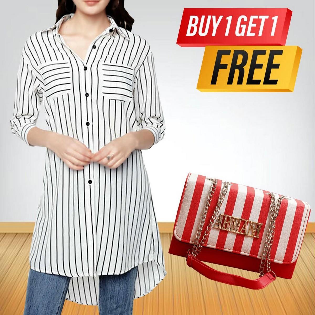 Women Blouses Summer Striped Shirts Pockets