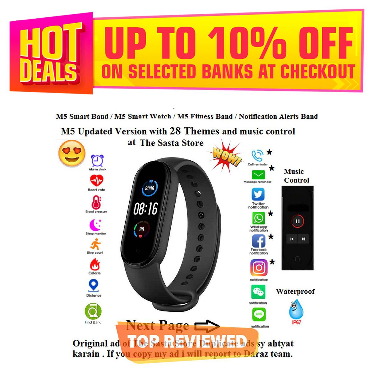 M5 smart band / m5 smart watch / m5 fitness band / Original High Quality M5   / M5 Smart Bracelet / Smart Band M5 / Wrist Watch / M5 Wireless Bluetooth Smart Watch / Band Watch / Wireless Bracelet / Fitness Band/ Heart Rate Tracker / Step Count Band