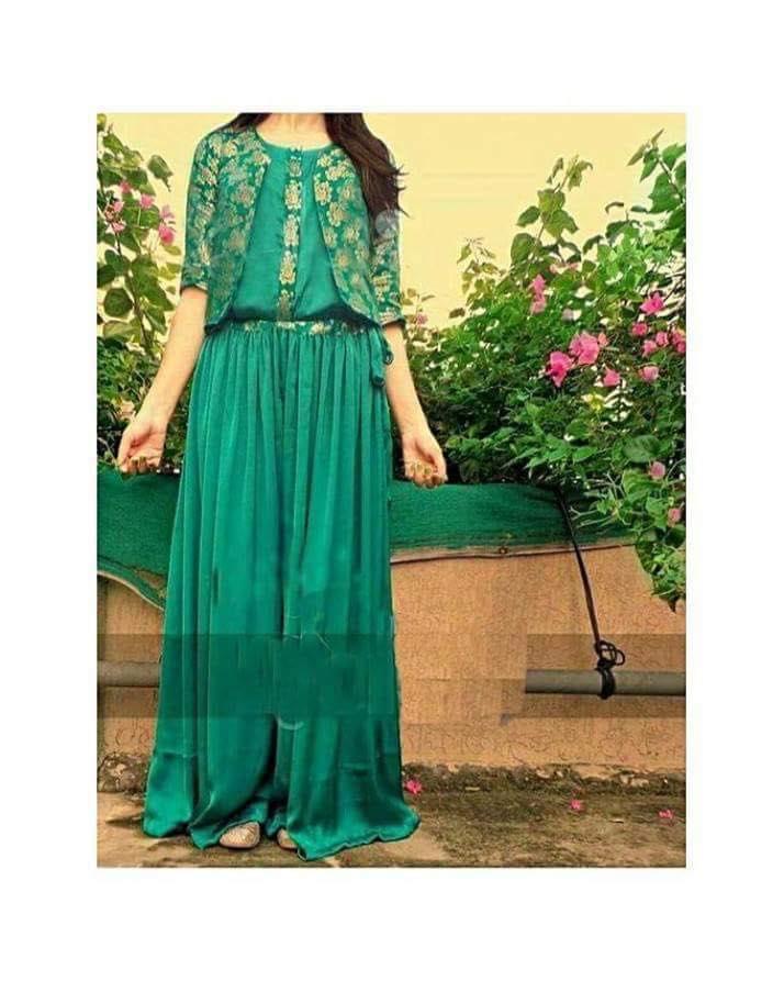Green Silk Floor Length Jumpsuit With Fancy uper women