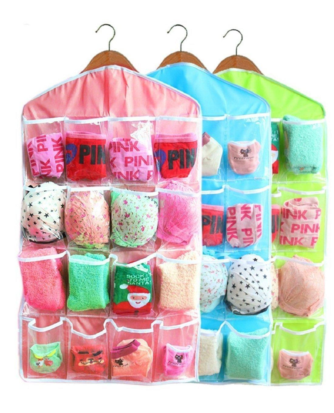 Sweet Candy Color Wardrobe Wall Mounted 16 Grid Storage Bag For Clothing Socks Pants And Stuffed Plush Toys