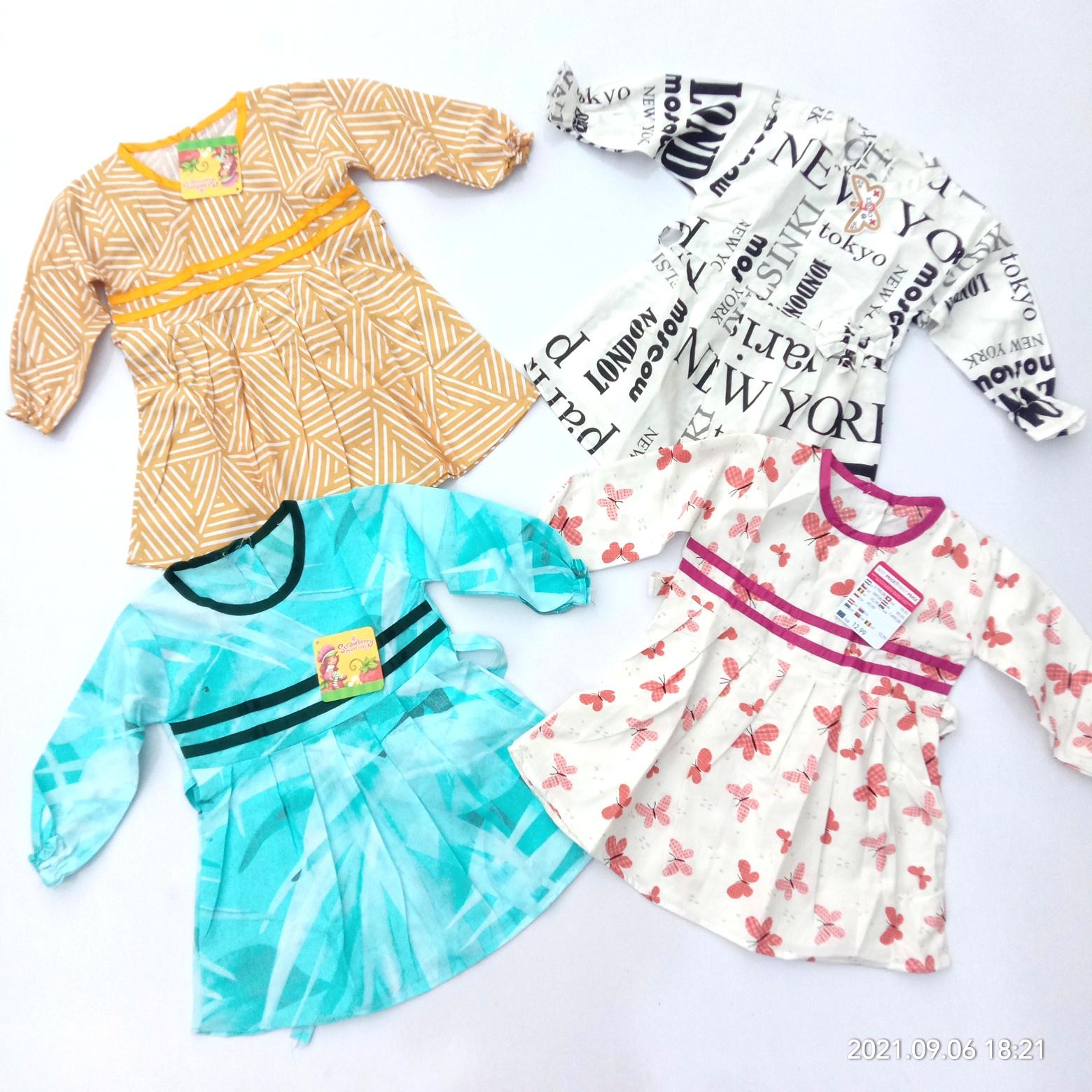 Pack Of 4 Full Sleeves Winter Cotton Frock For Girls (Random Design)