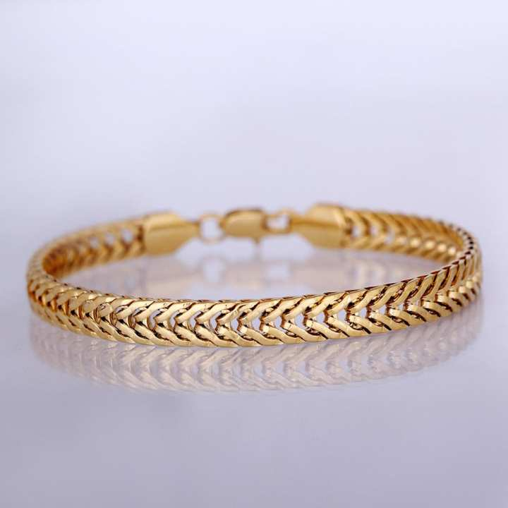 Fashion Personality Punk Rock Style 18K Gold Plated Metal Link Hand Chain Bracelet Jewelry for Women Girls