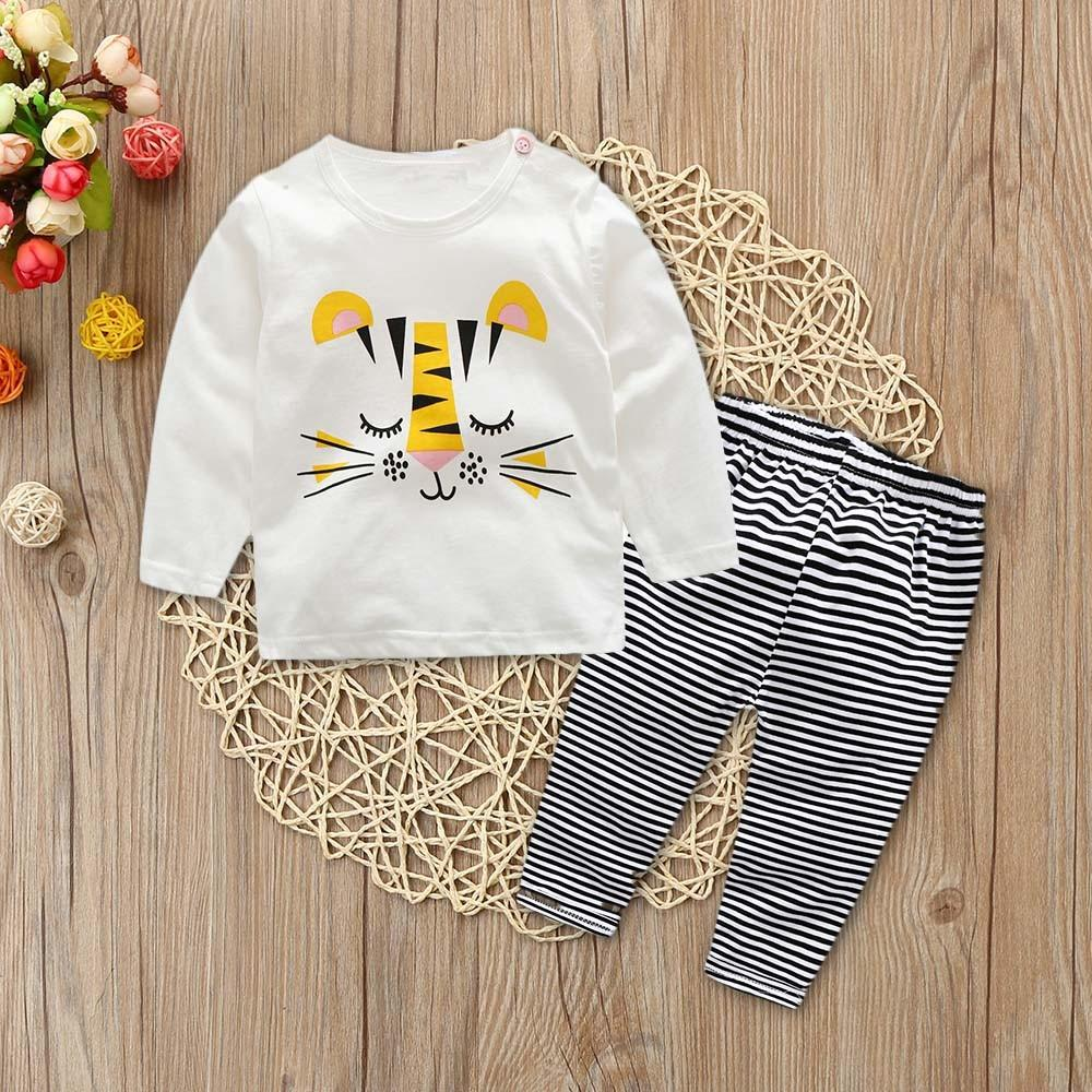 80ee98a6c0003 new authentic warm Korean version of handsome 2Pcs Toddler Baby Boys Long  Sleeves Cartoon Print Tops+Stripe Pants Outfits Set