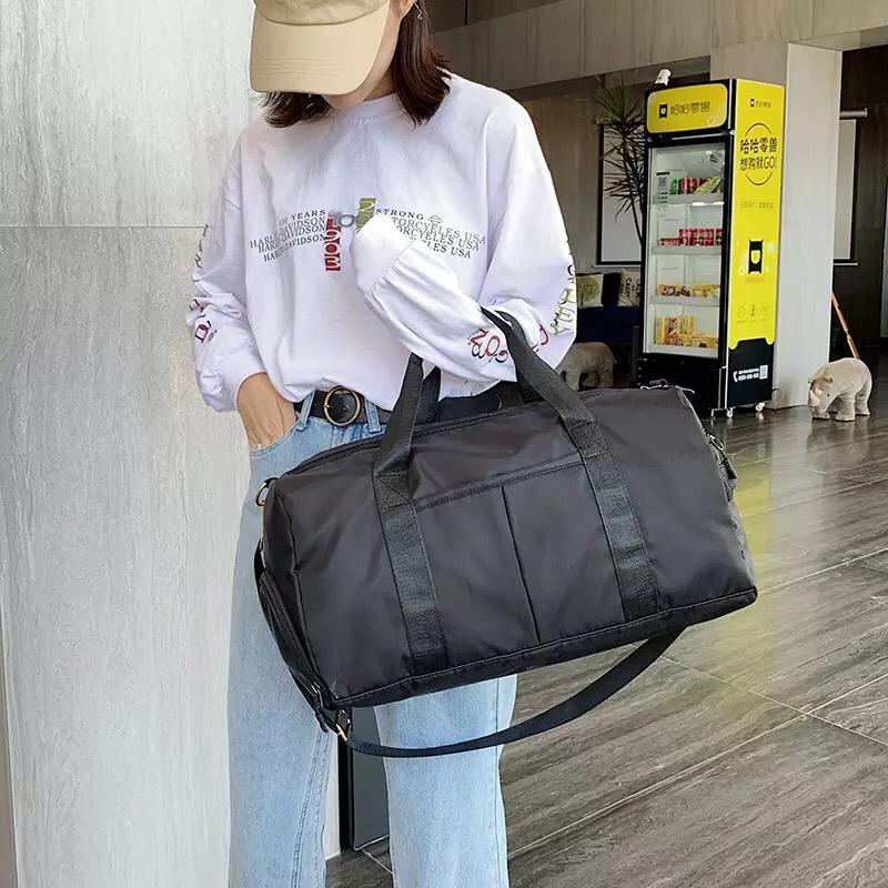 Travel Bag Waterproof Weekender Bags Oxford Cloth Luggages Handbag Shoulder Bag Traveling Bag Dry and Wet Separation Sport Bag Fitness Bag Gym Totes for Men Women ( Pink/Black)