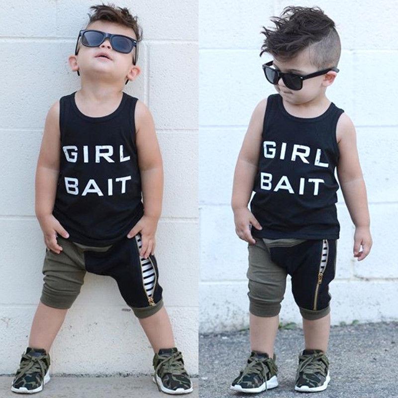 736b88fa1 2018 New Kids Baby Boys Summer Sleeveless Tops T-shirt Harem Shorts 2Pcs  Outfits Set