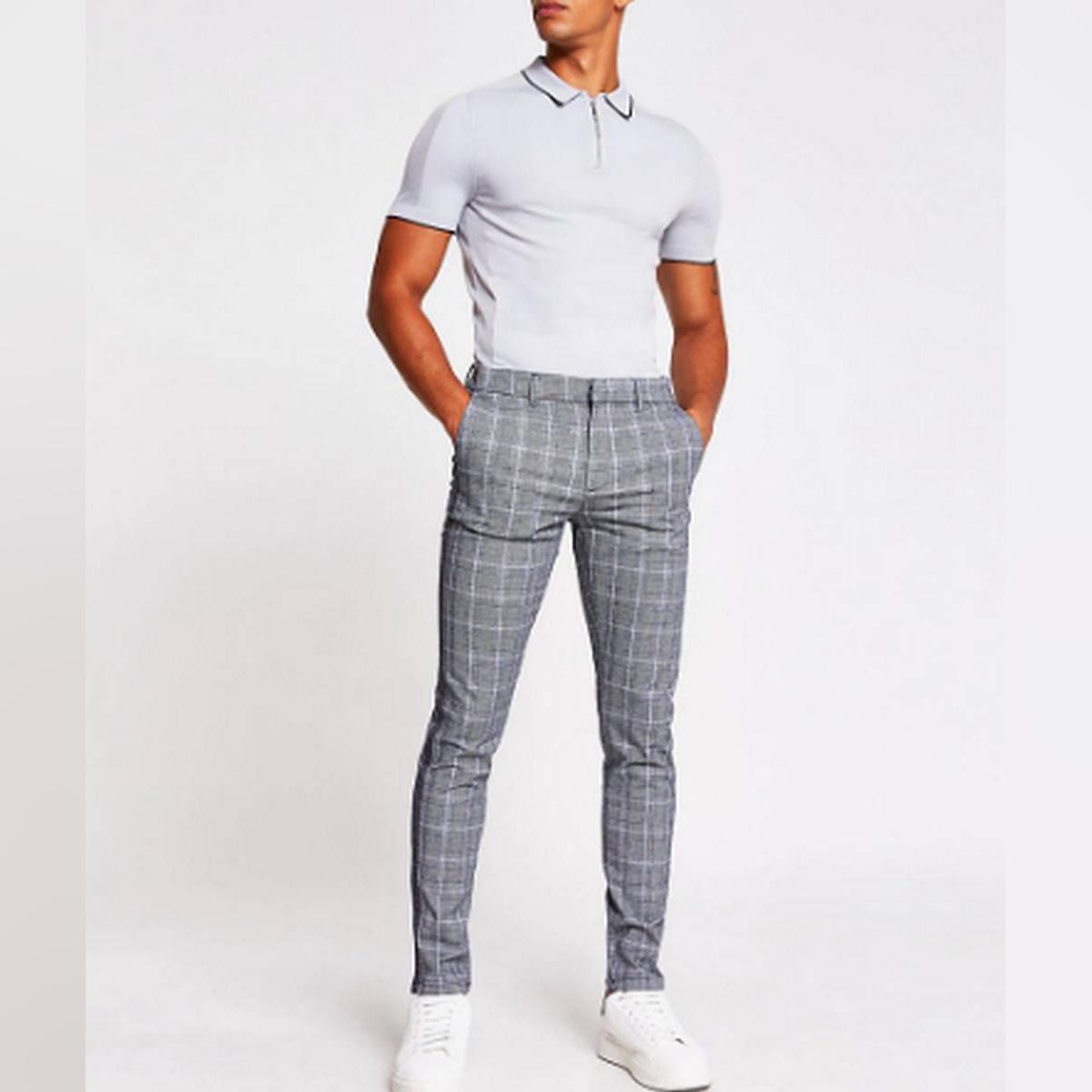 Men's Chinos Grey Check  Skinny Pant