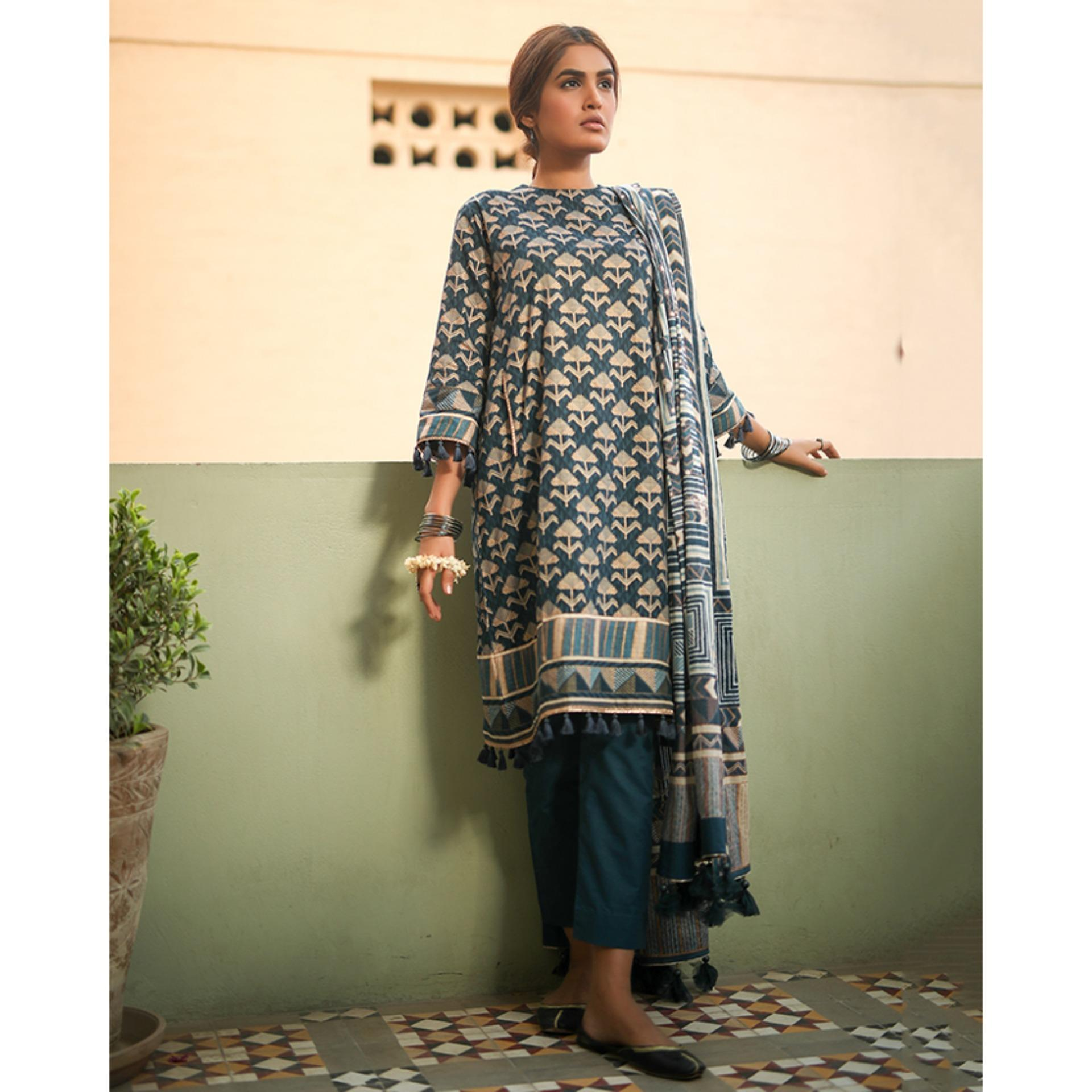 462b2e02b3 Alkaram studio Heritage Collection 2019 Blue Lawn 3 Piece unstitched Suit  For Women -A132218444 (