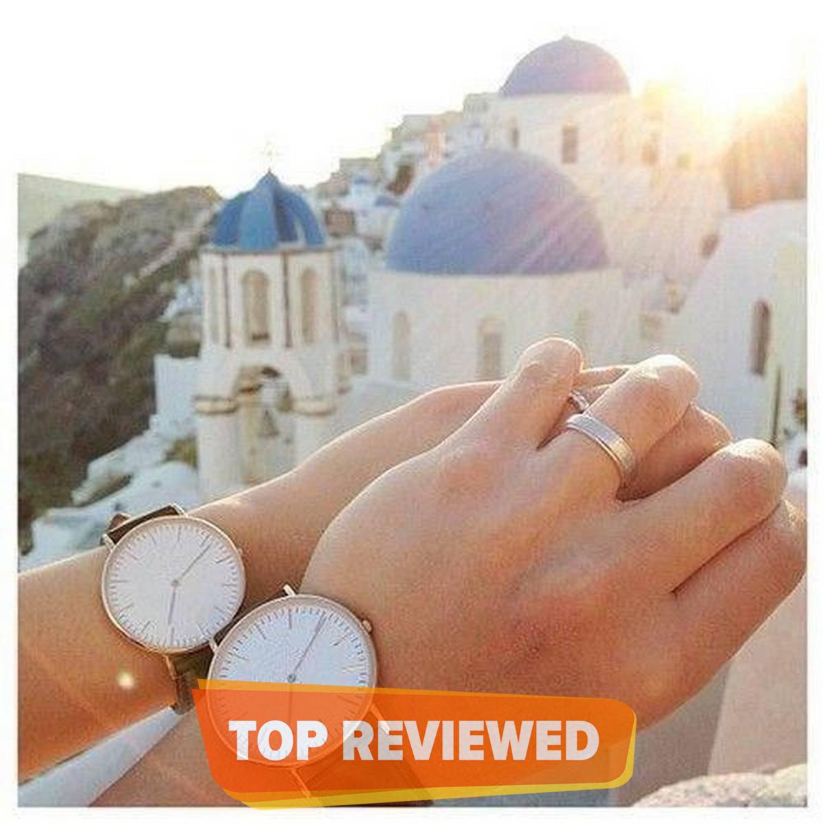 2Pcs/Set Brown Couple Watch