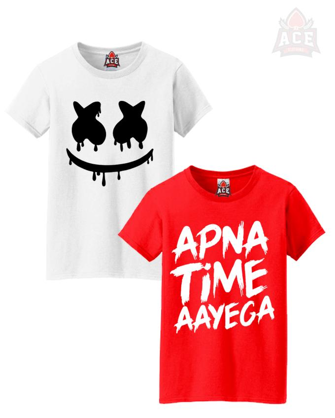 b5c433be71fe4 ACE- Pack of 2 White Marshmellow Red Apna Time Cotton Printed T Shirts for  Women