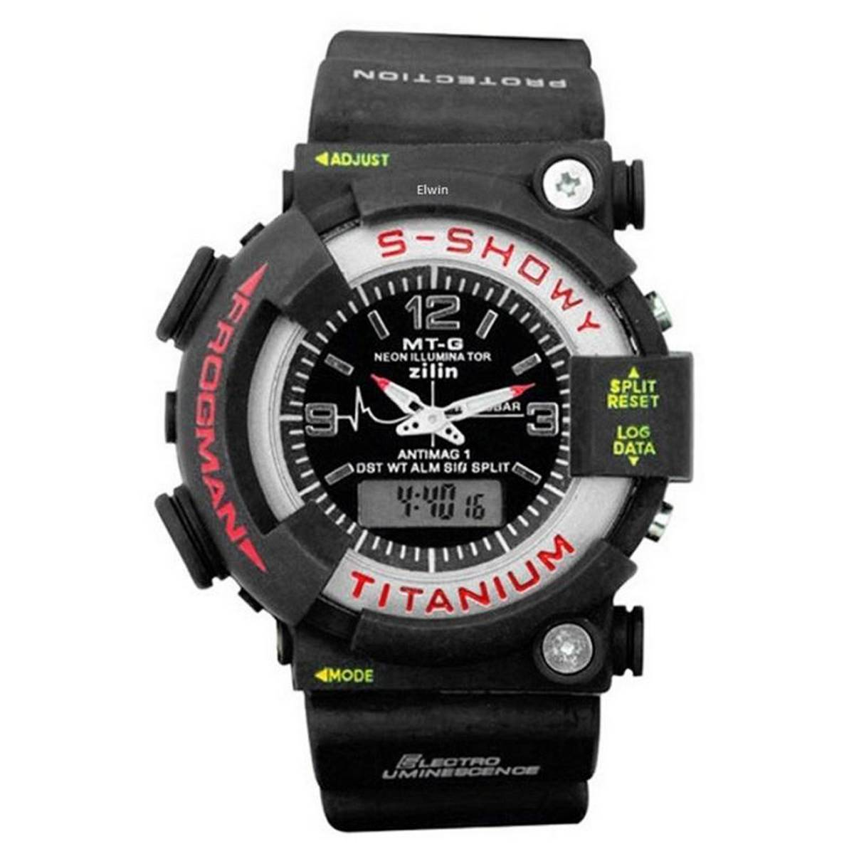 Dual Time S-SHOWY Frog Man TITANIUM Watch For Boys