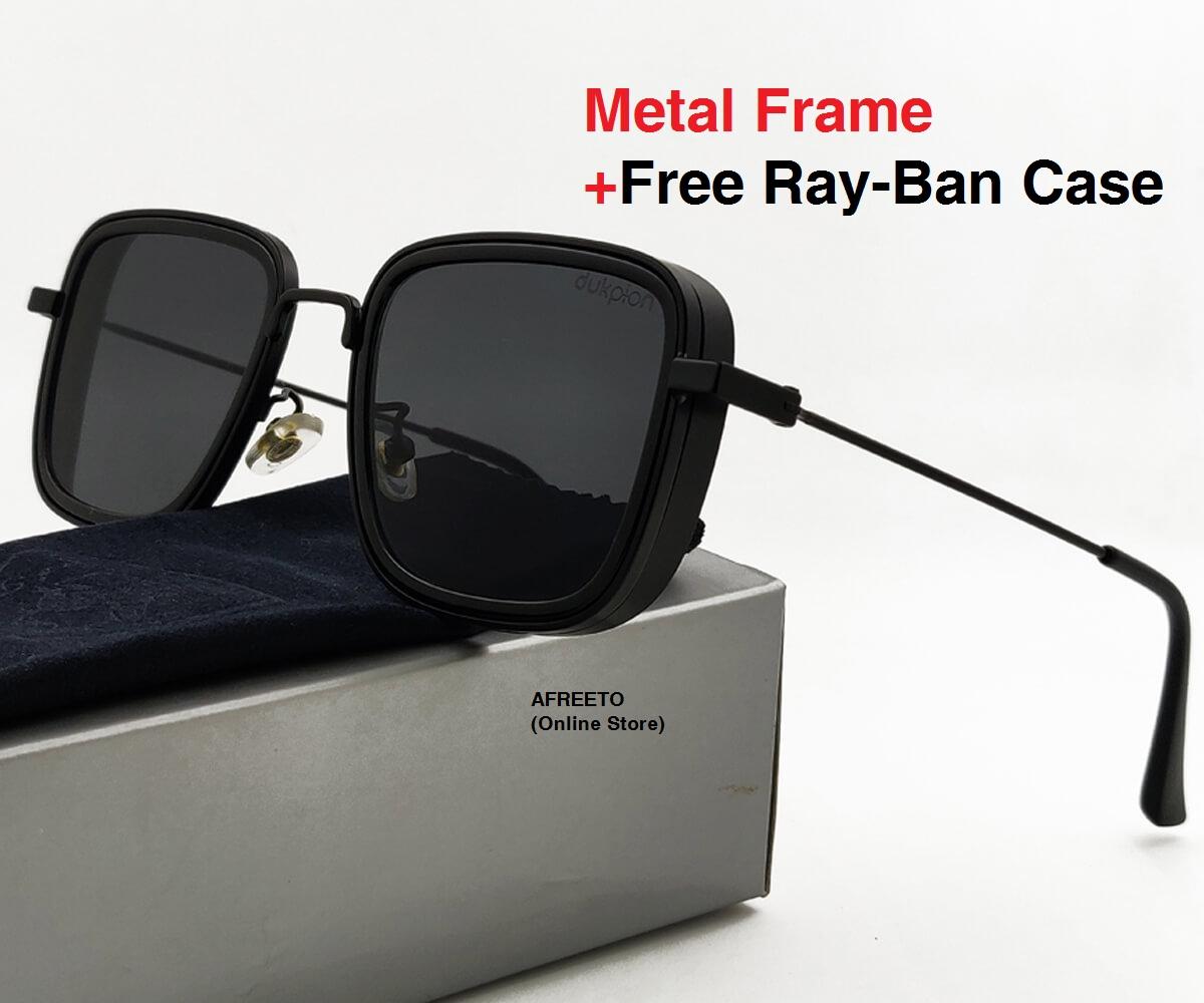 Black Kabir Singh Sunglasses for men Metal Frame Square Design glasses