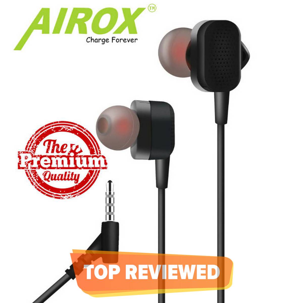 Best Universal Buds Handsfree - AIROX HF 06 - Quality Sound for Gamming - Wired with Mic Super comfortable handsfree for girls men - 3.5mm jack Earphones Ear Buds , Head phones for Android Mobile Phones Tablet PC