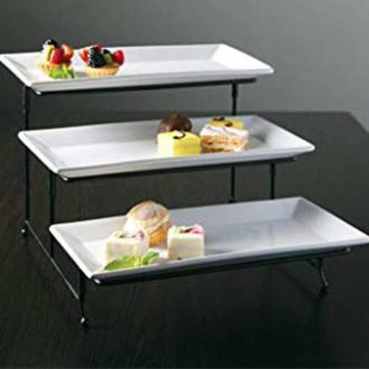 """Symphony 3 Tier Collapsible Thicker Sturdier Plate Rack Stand With Plates - Three Tiered Cake Serving Tray - Dessert Fruit Presentation - Party Food Server Display - 3 White 12' x 6"""" Porcelain Platters Incl."""